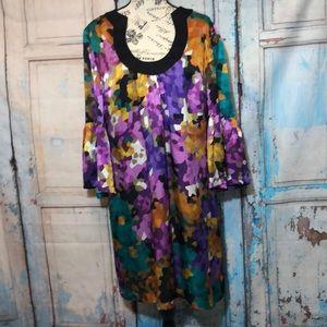 Trina Turk Silk Dress Bell Sleeves Tunic